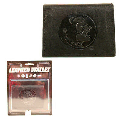 Florida State Seminoles Black Tri Fold Leather Wallet