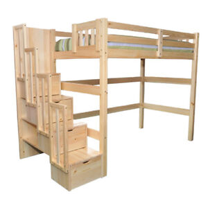 Aria Stairway Full Loft Bed Natural
