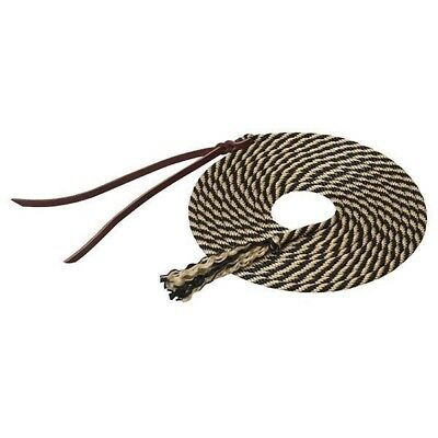 Weaver Silvertip Get Down Lead Rope/Reins with Poppers, Black/Tan, 14'