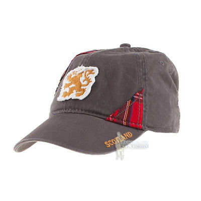 baseball cap gold lion rant royal tartan panels grey scotland rugby football hat