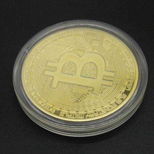 Gold Bitcoin Commemorative Round Collectors Coin Bit Coin is Gold Plated SLP8