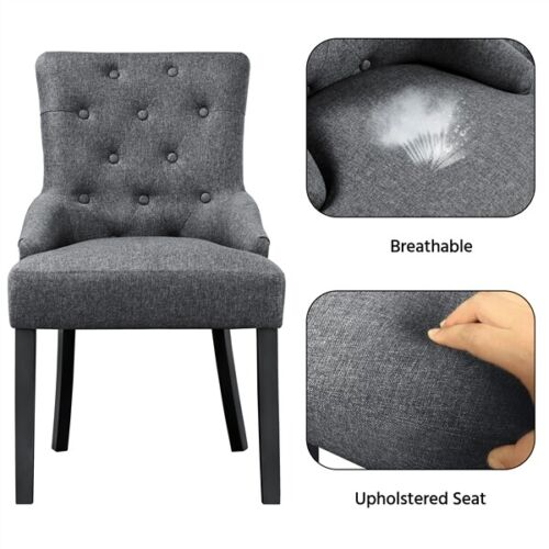 2pcs Dining Chairs Wingback Fabric Chair With Nailhead Trim and Wood Legs, Gray 5