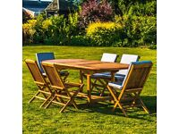 7 Piece Oval Teak Table With Folding Chair Garden Patio Furniture Set