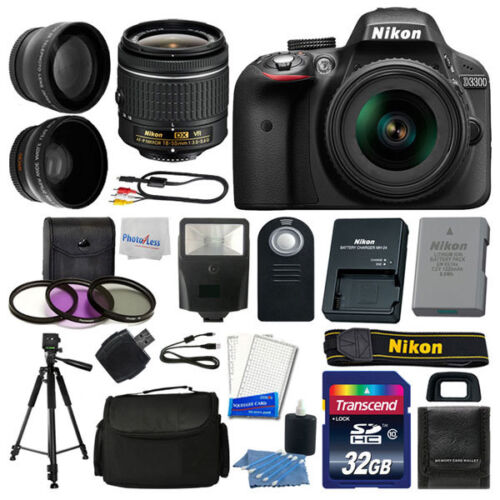 Изображение товара Nikon D3300 Digital SLR Camera Body 3 Lens Kit 18-55mm Lens + 32GB Top Value