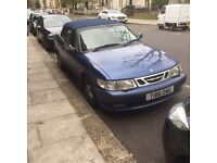 Blue Saab convertible