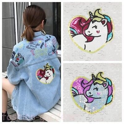 Unicorn Shimmer Sequins Embroidered Sew Iron On Patch Badge Clothes Bag - Shimmer Clothes