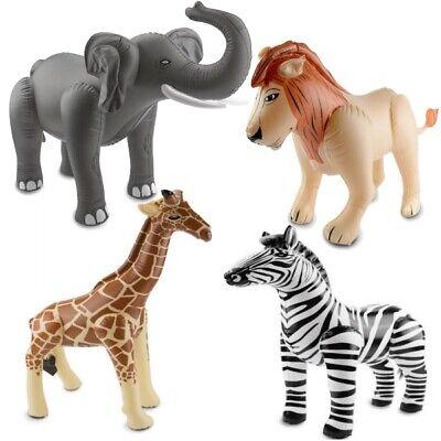 4er Set aufblasbare Safari Tiere Elefant, Löwe, Giraffe und Zebra -  Dschungel ()