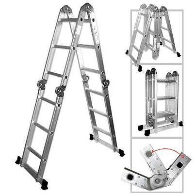 12.5 Ft. Heavy Duty Multi Purpose Aluminum Ladder Folding Step Scaffold Extenda