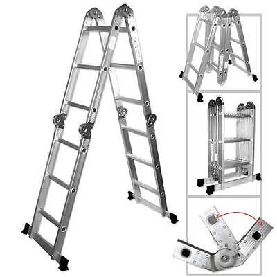 12.5 Ft. Heavy Duty Multi Purpose Aluminum Ladder Folding Step Scaffold Extenda