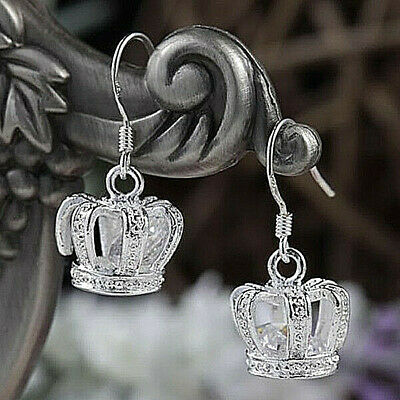 Royal Crown with Crystal Accents Earrings 925 Sterling Silver NEW