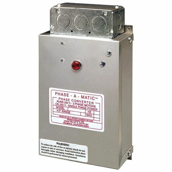 Phase-a-Matic Static Phase Converter #PC-300-HD, 1-3HP, 9.6 Max Amps
