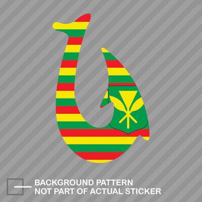 Islands Flag Decal Sticker (Kanaka Maoli Flag Fish Hook Sticker Die Cut Decal hawaiian islands hawaii native )