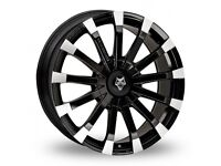 4 x 22 Inch Wolf Design Wolf Design Renaissance Black Polished Alloy Wheels And Tyres