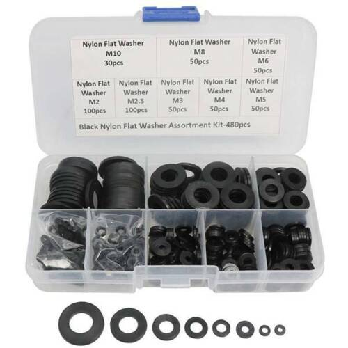480 Pcs Nylon Flat Round Washers Gaskets Spacers Assortment Set for Screw Bolt