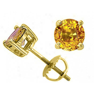 2.50 CARAT 14K SOLID YELLOW GOLD SCREW BACK ROUND CANARY SAPPHIRE STUD EARRINGS