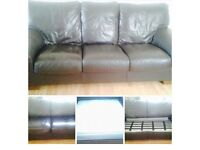 Brown leather 3&2 seater couch. 3 seater is a double sofa bed.