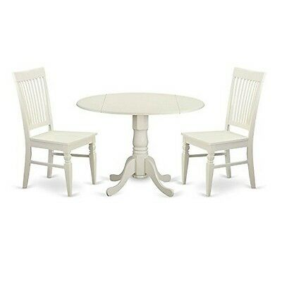 East West Furniture Dlwe3-whi-w 3 Piece Kitchen Table and 2 Dining Room Chairs S