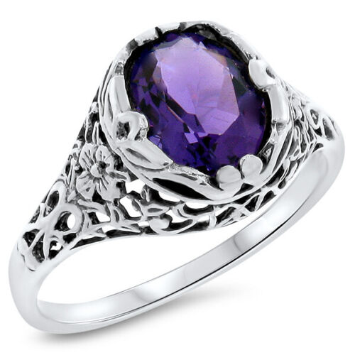ANTIQUE ART NOUVEAU STYLE LAB AMETHYST 925 STERLING SILVER RING SIZE 6      #679
