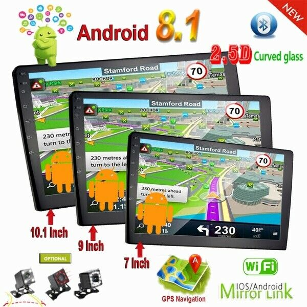 """7"""" 2 Din Android 8.1 Car Radio GPS Navigation Wifi Bluetooth with 12 LED Camera"""
