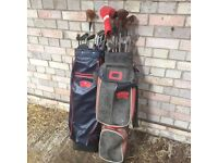 2 sets of golf clubs pinseeker and slzenger