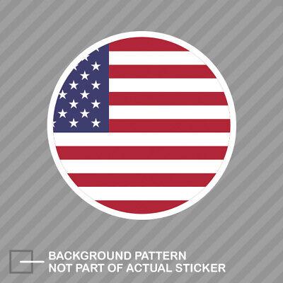 Round Decal Vinyl Sticker (Round American Flag Sticker Decal Vinyl circle USA America)