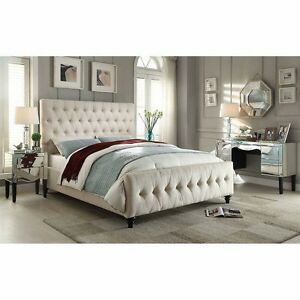 Celeste Queen beige upholstered bed Costco