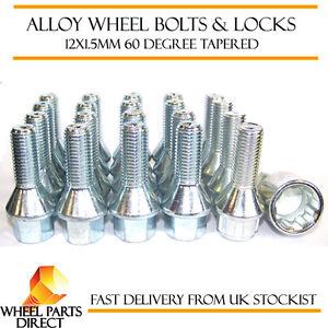 Set of 16 * 12x1.5mm Tapered Alloy Wheel Bolts + 4 Locking Lock Bolts + Nut Key