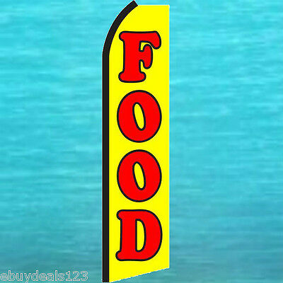 Food Yellow Flutter Feather Flag Swooper Tall Advertising Sign Bow Banner 1393