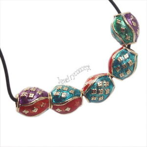 20pcs Vintage Colorful Enamel Flower Vase Shape Cloisonne Beads 9x8mm 152542