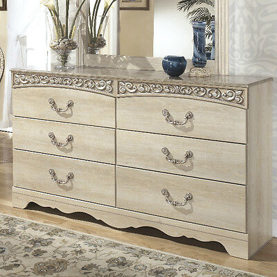 Dresser 6 Drawer Antiqued Finish Faux Marble Top Chest Bedroom Furniture