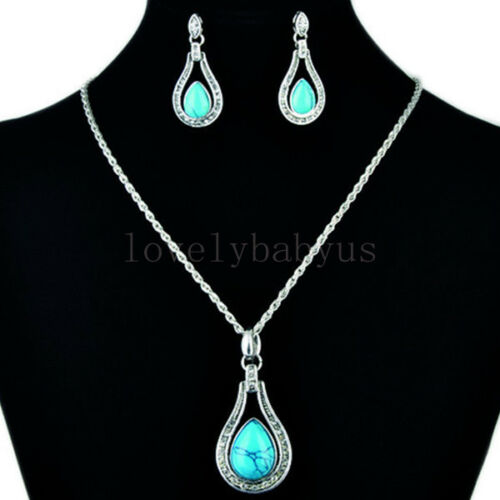 Unisex-Women-s-Drop-Turquoise-Gemstone-Crystal-Tibet-Silver-Necklace-Earring-Set