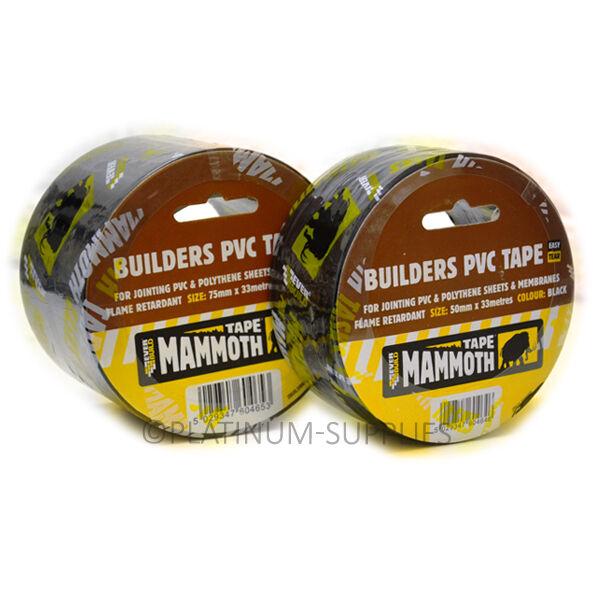 EVERBUILD BUILDERS PVC TAPE BLACK MAMMOTH  50/75mm x 33 Metres SEALING