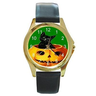 MERRY HALLOWEEN BLACK KITTY CAT & PUMPKIN ON GREEN GOLD-TONE WATCH 9 OHTR STYLS](Watch Halloween 9)