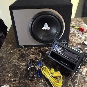 "Alpine CD player with 8 "" sub and amp"