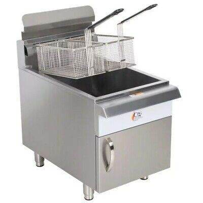 30 Lb. Liquid Propane Commercial Restaurant Stainless Steel Floor Deep Fryer