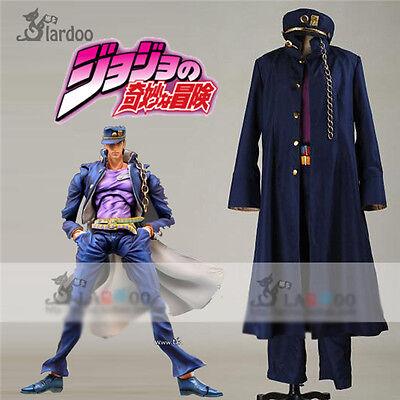 JoJo's Bizarre Adventure Jotaro Kujo Cosplay Costume Blue Coat Full Set