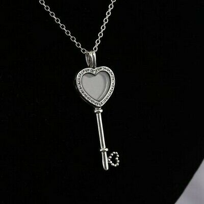 S925 ALE PANDORA GENUINE SILVER FLOATING LOCKET HEART KEY NECKLACE 80 CM CHAIN