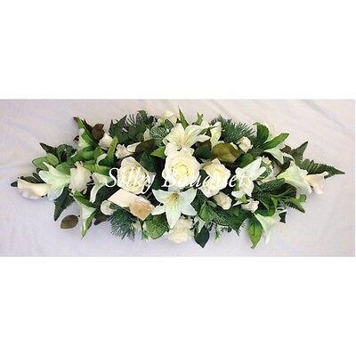 - Artificial Silk Funeral Flower Coffin Spray Memorial Tribute Casket Wreath Lily