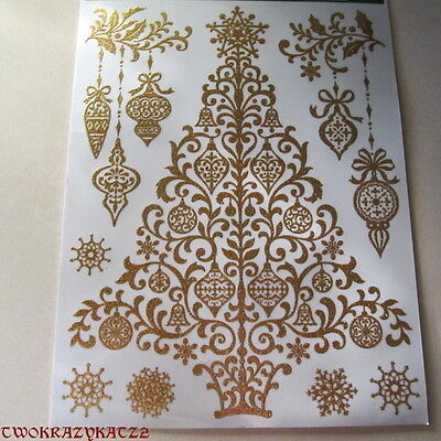 CHRISTMAS TREE GOLD GLITTER WINDOW CLINGS INDOOR DECORATIONS 8 PCS