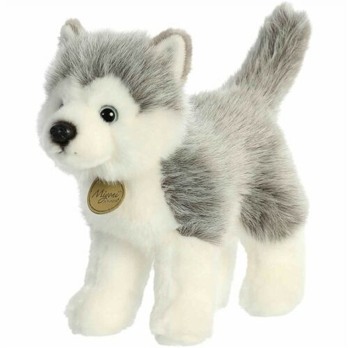 "New AURORA MIYONI Soft Stuffed Plush Toy SIBERIAN HUSKY Animal PUPPY DOG 10"""