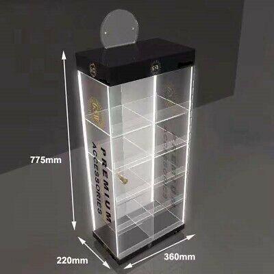Counter Top Acrylic Display Stand With 4 Led Light Lockable Case For Cbd