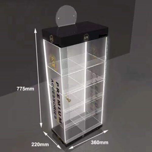 Counter Top Acrylic Display Stand with 4  LED Light & Lockable Case for CBD