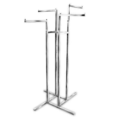 Four-way Silver Portable Clothing Rack With Interchangeable Arms