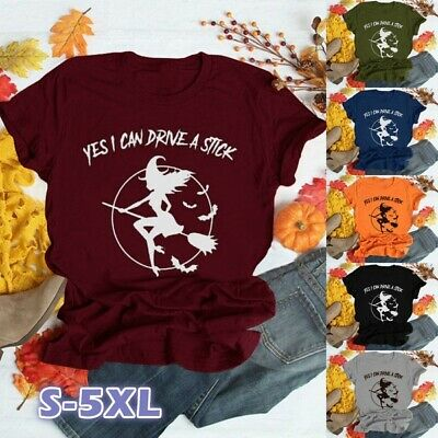Halloween Witch Graphics (Women Halloween Witch Broom Graphic Print T-shirts Letter Printed Funny)
