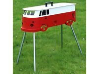 Red and White Camper Van BBQ