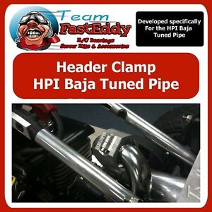 Baja Header Exhaust Clamp Alloy TFE fit SS Tuned Pipe HPI 5B 5T SC