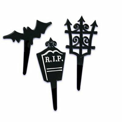 12  Halloween Black Shapes Cupcake Picks  party  Black Gate Bat Tombstone](Halloween Tombstone Shapes)