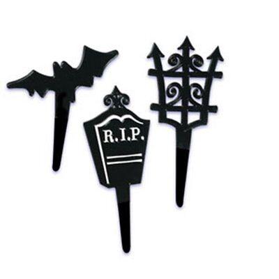 12  Halloween Black Shapes Cupcake Picks  party  Black Gate Bat Tombstone