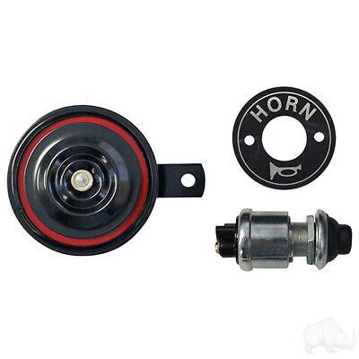 Yamaha,Club Car,Ezgo Golf Cart Horn Kit 12V Horn, Floor Mount Button, Decal