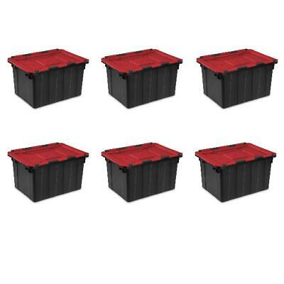 6 PACK Hinged Lid Industrial Stacking Tote Storage Box Container 12 Gallon Bin Hinged Storage Container